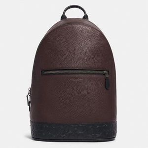 COACH West Slim Men Backpack Brown Leather